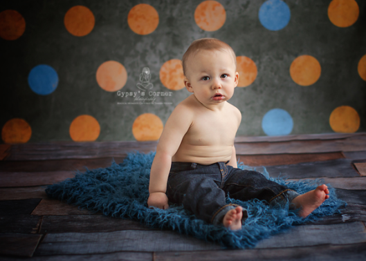 Orange and Blue Cake Smash Baby's First Birthday Session by Gypsy's Corner Photography in Buffalo NY