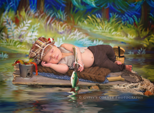 WNY NY Newborn Photography| Newborn Fishing Theme www.gypsyscornerphotography.com