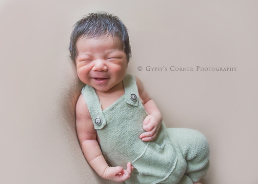 Buffalo Newborn Photographer| Newborn baby boy smiles |Gypsy's Corner Photography