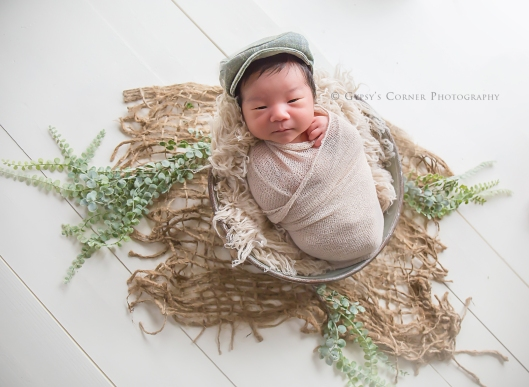 Buffalo Newborn Photographer| Newborn Boy in Bucket |Gypsy's Corner Photography