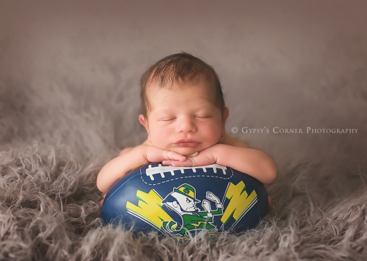 Buffalo Newborn Photographer|With grandpas football|Gypsy's Corner Photography-58Web