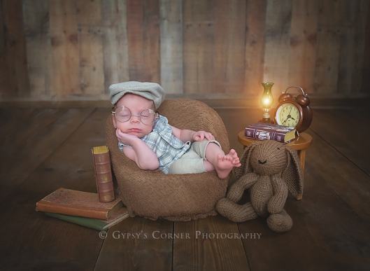 Buffalo and WNY custom Newborn photographer| Newborn baby boy with books, glasses and bunny|Gypsy's Corner Photography-3Web
