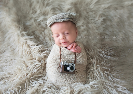 Buffalo creative Newborn Photographer| Newborn Baby boy with camera|Gypsy's Corner Photography-1Web