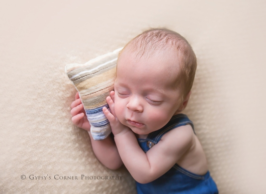 Buffalo NY Baby Photographer|Newborn Baby boy in jeans overalls|Gypsy's Corner Photography