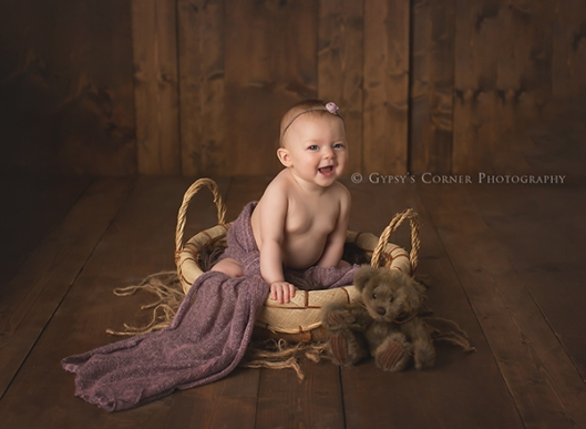 Buffalo and Williamsville NY Baby Photography| Baby Girl and bear|Gypsys Corner Photography-31Web