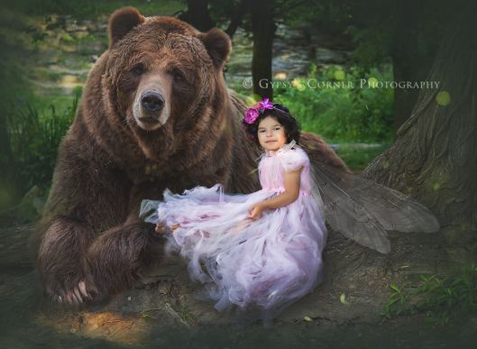 Buffalo NY Children Photography|Fairy and her guardian Bear|Gypsy's Corner Photography