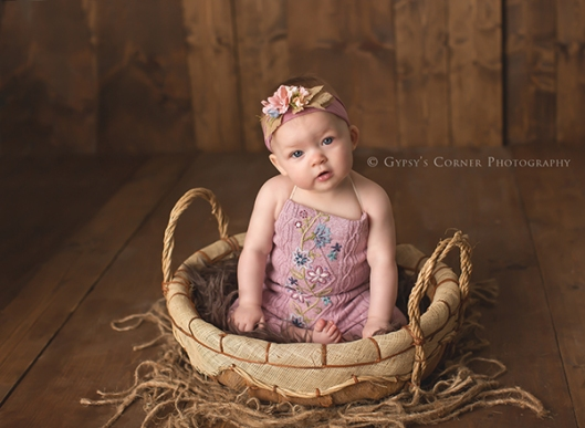 Buffalo NY Newborn and Baby Photographer|Baby Girl in a basket|Gypsys Corner Photography