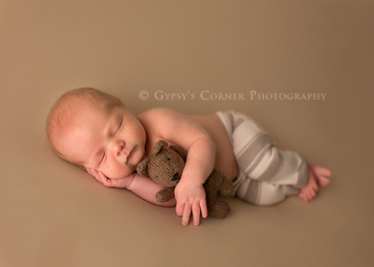 Buffalo NY custom Newborn Photography|Newborn boy hugging his teddy bear|Gypsys Corner Photography-31Web